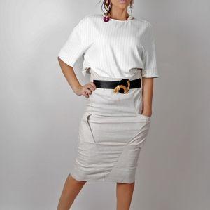SKUNKFUNK Beige Striped Pencil Skirt